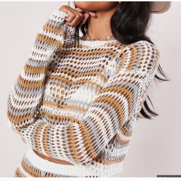 Missguided Tops - white tonal stripe crochet cropped sweater top